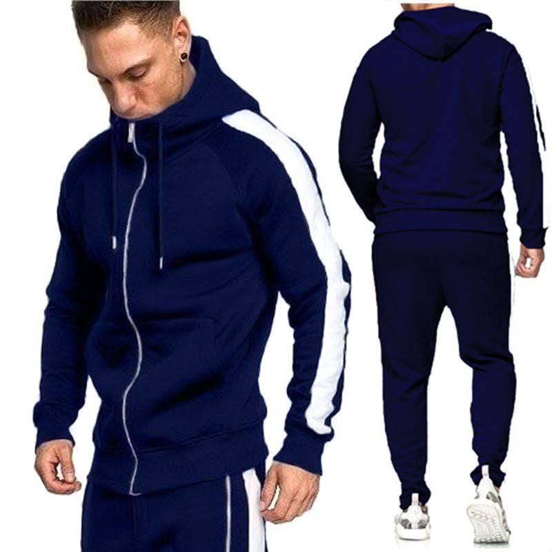 2019 New Men Running Set Long Sleeve Pockets Zipper Hoodies Sweatpants Tracksuit Outdoor Sport Suit Gyms Hiking Sportswear Suit