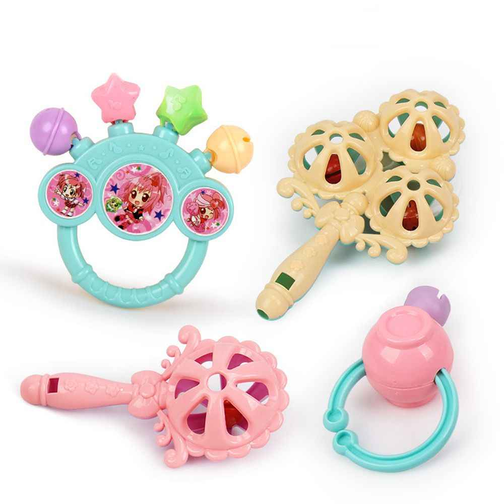 7Pcs/Set Cute Crib Teething Training Plastic Gift Toddler Baby Teether Hand Shaking Educational Toys Bell Rattles Infant Toys