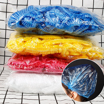 100PCS Shower Caps Waterproof Disposable Elastic Shower Bath Bathing Caps Hats for Home Hotel Hair Salon SPA Bathroom