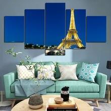 5 шт Декоративные плакаты Эйфелева башня Золотое освещение ночная