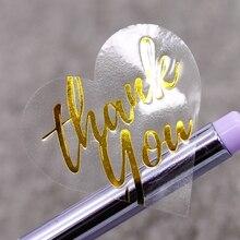 Прозрачное сердце золотой Спасибо наклейки, подарочные бумажные этикетки наклейки, декоративные этикетки упаковочные наклейки 100 шт/уп