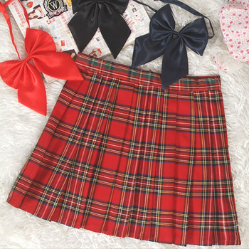 Preppy Style High Waist  Pleated Skirts Women Korean A-Line Short Skirts Uniforms School Kawaii Tartan Plaid Skirt Saias  5