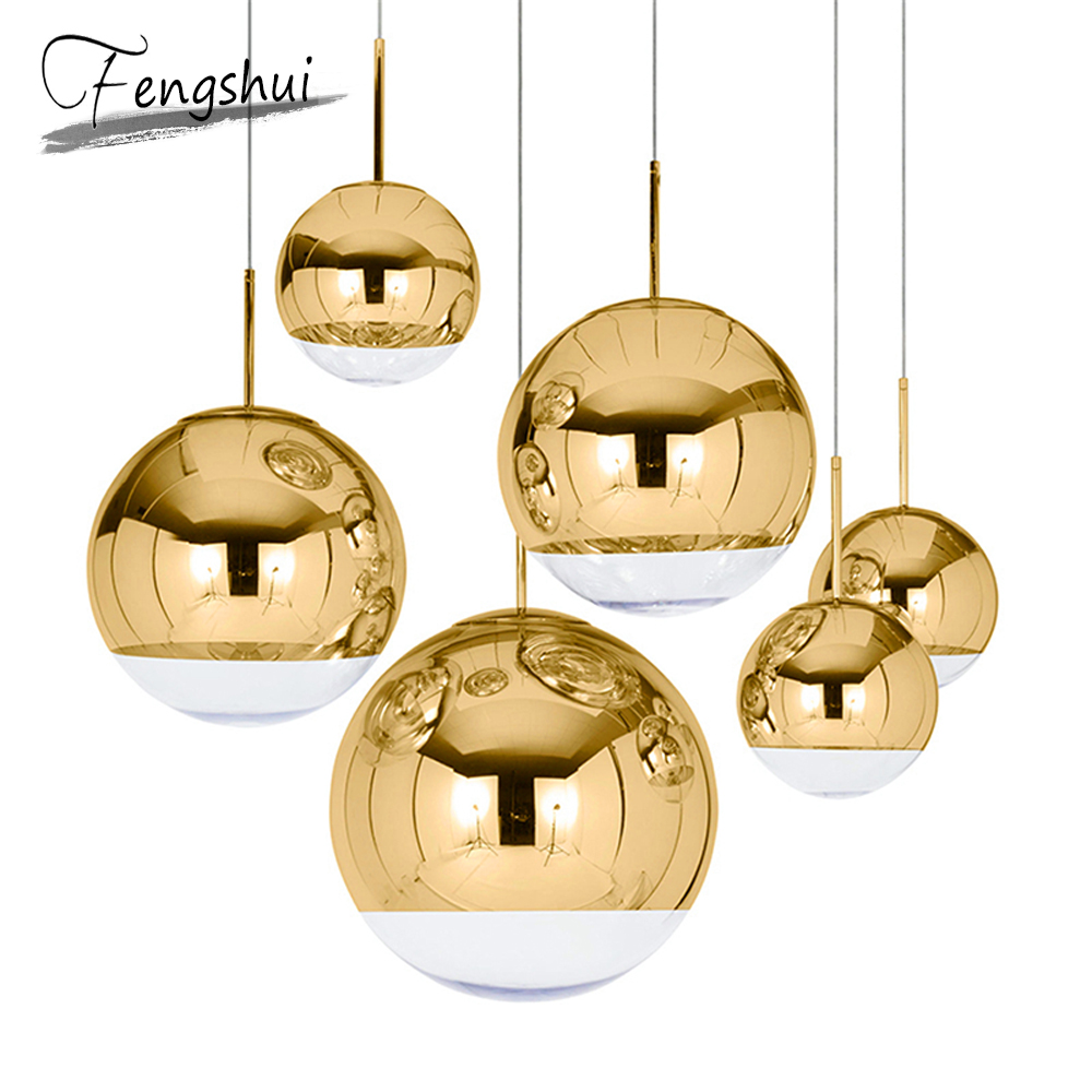 Nordic LED Glass Pendant Lights Lighting Gold Silver LOFT Restaurant Bar Industrial Pendant Lamp Kitchen Fixtures Hanging Lamp