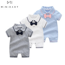 2020 new style Summer Baby Boy gril Rompers 100 Cotton Baby Clothes Gentleman Baby Boys Romper Toddler Kids Jumpsuits birthday cheap OrangeMom Solid Turn-down Collar Pullover Unisex Short Fits true to size take your normal size