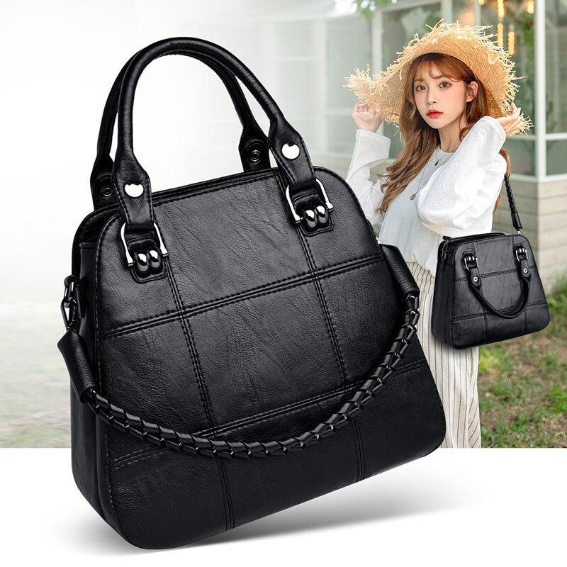 Black Paid Women Casual Totes Bag Female Handbags Large Big Size  Woman Shoulder Bag for Ladies Vintage Genuine Leather Hand  BagsTop-Handle Bags
