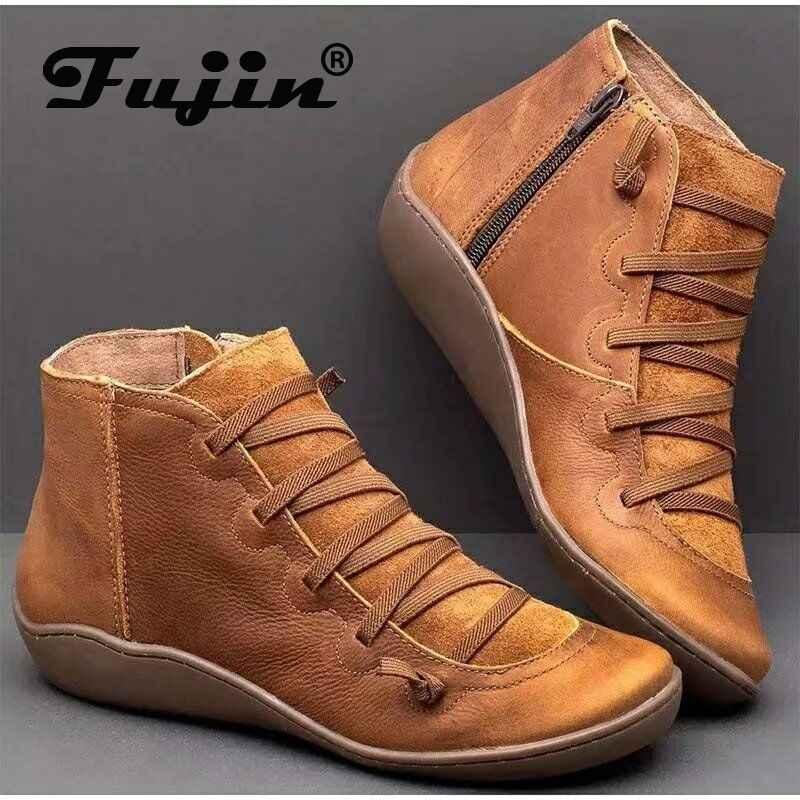 Fujin yarım çizmeler kadınlar için kış sonbahar moda kama düz alt katı platformu fermuar yuvarlak ayak eğlence kadın kısa çizmeler