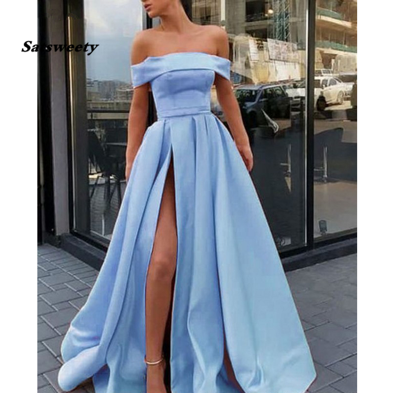 Strapless Pink Prom Dresses 2020 Off the Shoulder High Slit A Line Satin Long Prom Gown Simple Elegant Yellow Evening Dress