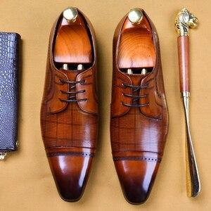 Designer italiano de couro genuíno homem formal vestido festa sapatos dedo do pé apontado boné masculino derby escritório oxfords para o sexo masculino as320