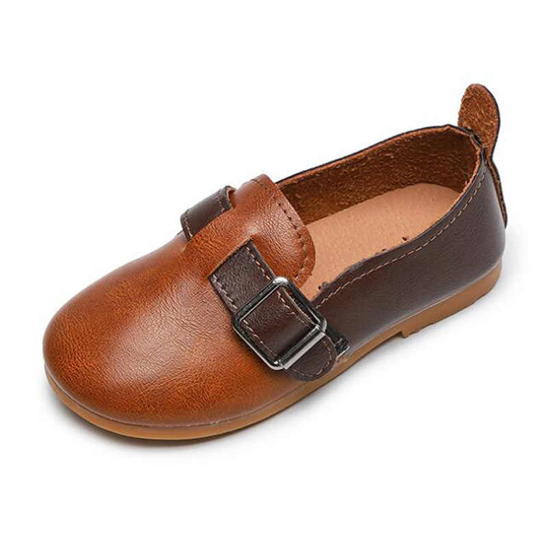 Çocuklar bahar PU deri günlük mokasen ayakkabı ayakkabı erkek kız açık yumuşak tabanlı ayakkabı bebek bebek öğrenci prenses ayakkabı