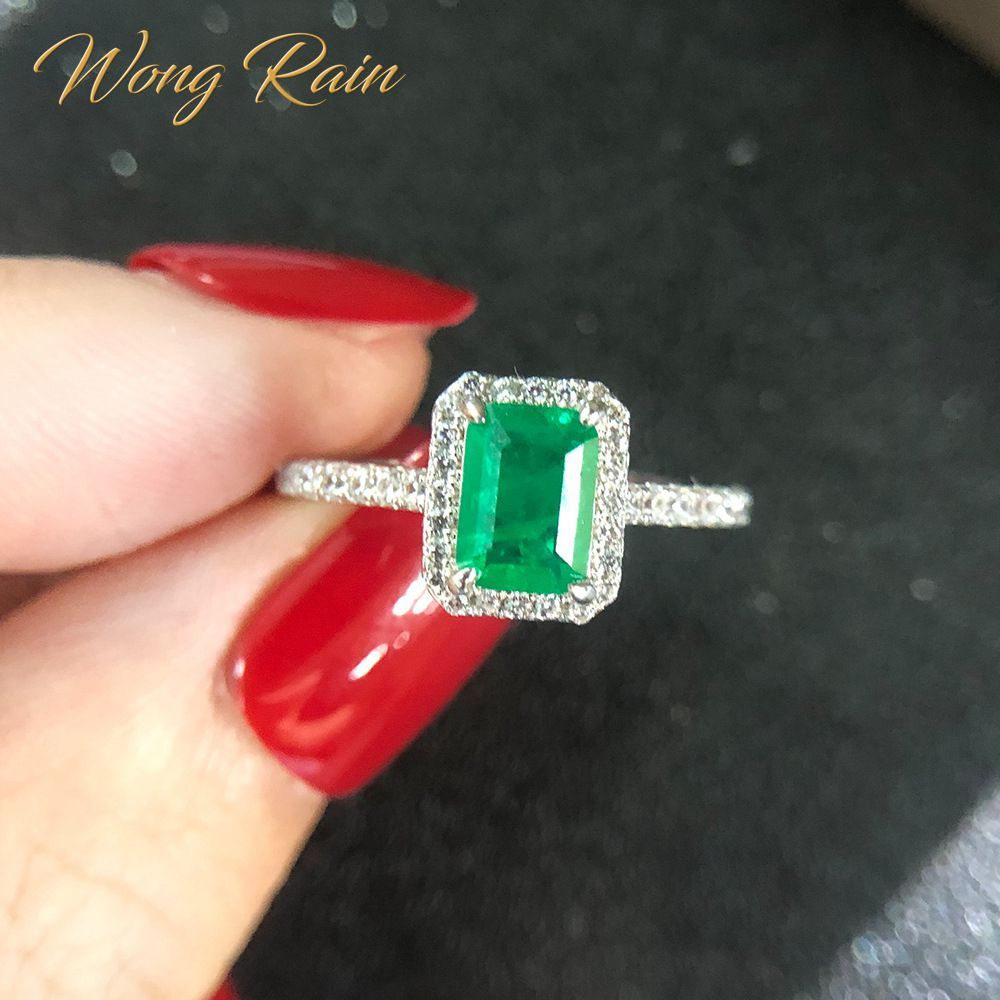 Wong Rain Vintage 925 Sterling Silver Emerald Diamonds Gemstone Wedding Engagement Ring Fine Jewelry Wholesale Drop Shipping(China)
