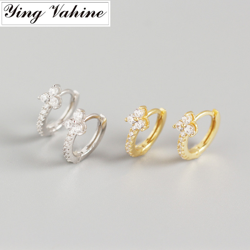 Ying Vahine 100% 925 Sterling Silver CZ Flower Shape Stud Earrings For Women Fashion Jewelry Best Gifts