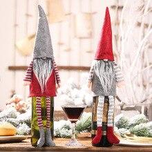 Handmade Christmas Gnome Decoration Holiday Gifts Swedish Figurines Sitting long-legged Elf Wine Bottle Decoretion Set