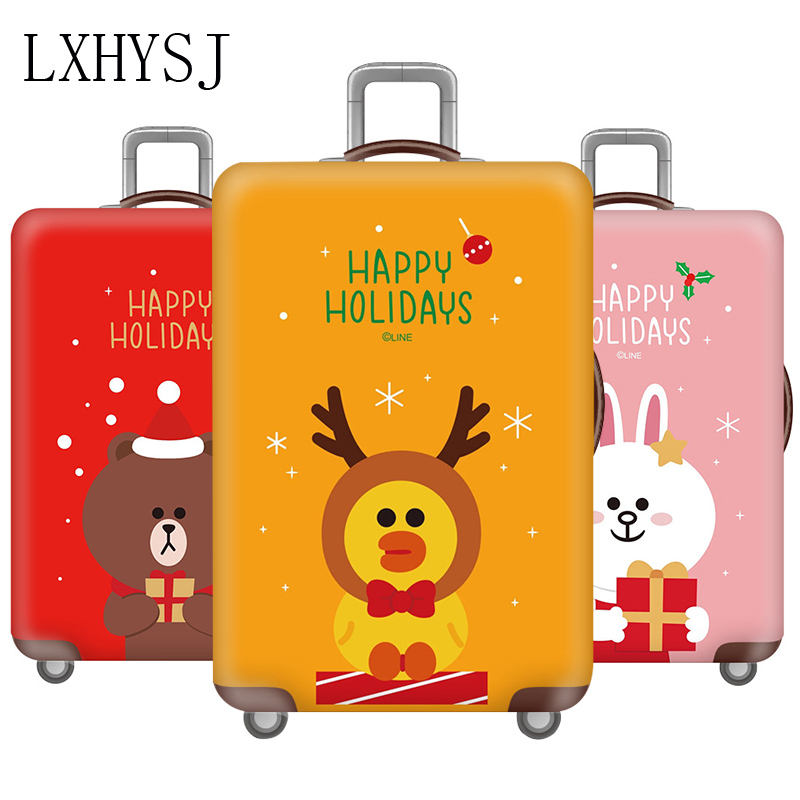 Christmas Animal Luggage Cover Thicken Travel Suitcase Cover  Elasticity Luggage Protective Covers 18-32 Inch Travel Accessories