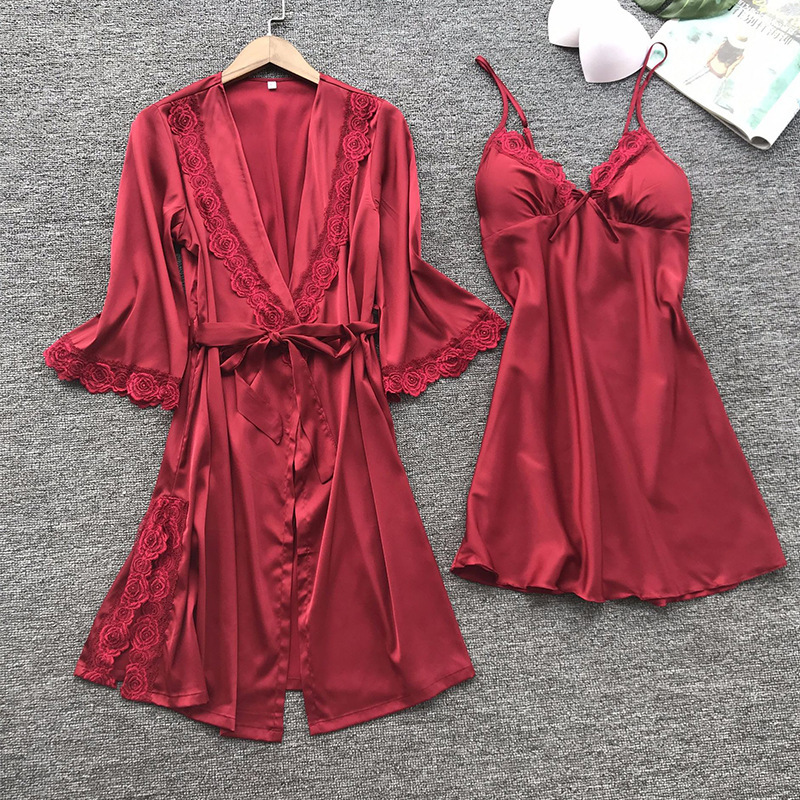 2019 Hot Selling Tracksuit Pajamas Nightgown European And American-Style Plus-sized Nightgown Bathrobe Set