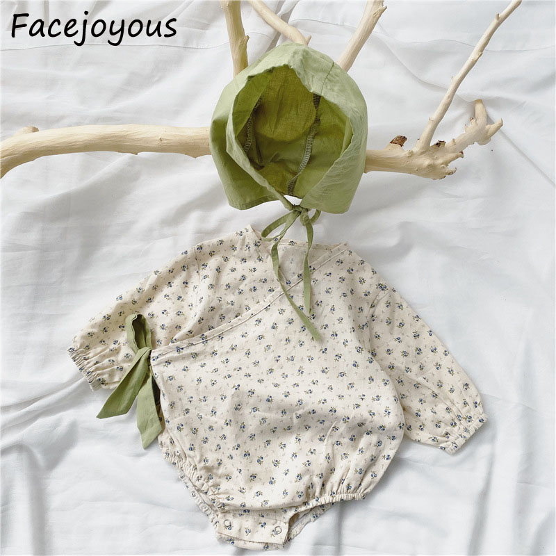 Newborn Girls Floral Bodysuits Infant Kids Cotton Long Sleeve Ropa Bebe Baby Girl Clothes Side Laces Body Suit Outfits Costume