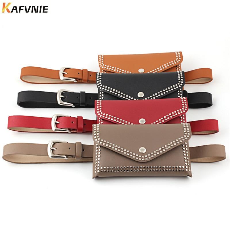 KAFVNIE Woman Waist Pack  Vintage Rivet Waist Belt Bags Phone Pocket PU Leather Waist Pouch Vintage Lady Fanny Pack Wholesale