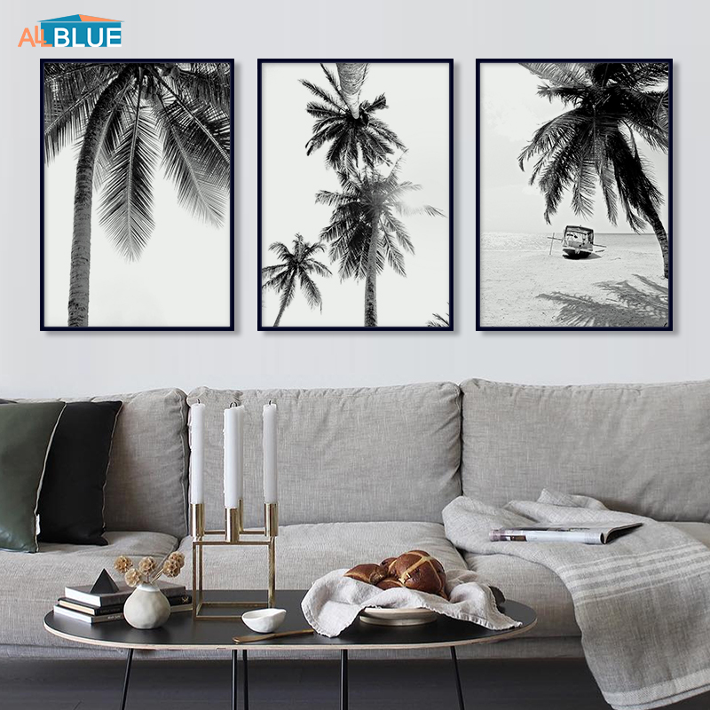 Palm Trees Beach CANVAS WALL ART SINGLE Picture Print