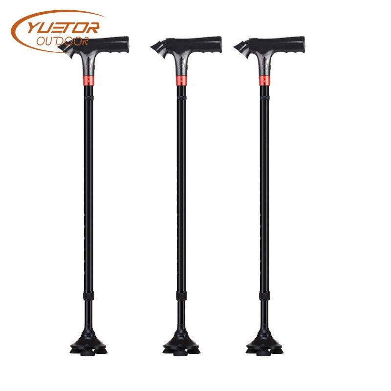 Yuetor Outdoor Multi-functional Crutches Old Aluminum Alloy Alarm Extendable Elderly Non-Slip Walking Stick