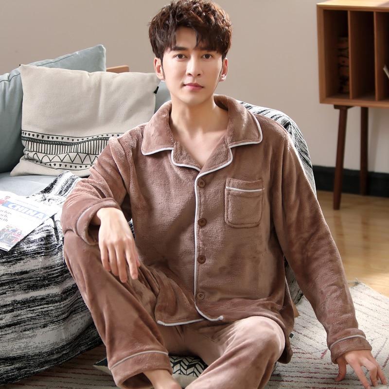 Men Pajamas Winter Flannel Pajama Set Thick Casual Homewear Warm Sleepwear Night Men Pajamas Suit Sleepwear Pijama Mujer