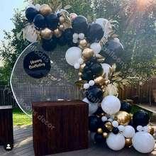 Garland-Kit Balloons Party-Decor Black DIY White Gold Shower Marble Chrome-Sliver Birthday