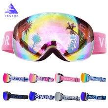 Mulheres Homens Óculos Óculos de Esqui Snowboard Óculos De Esqui OTG Máscara UV 400 óculos de Proteção Óculos de Neve Adulto Duplo Esférico Espelhado Magnético