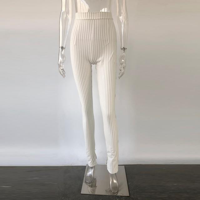 KGFIGU Office pants For women 2020 High waist striped trousers women Side split OL style Skinny long Bottom Have stretchy White 36