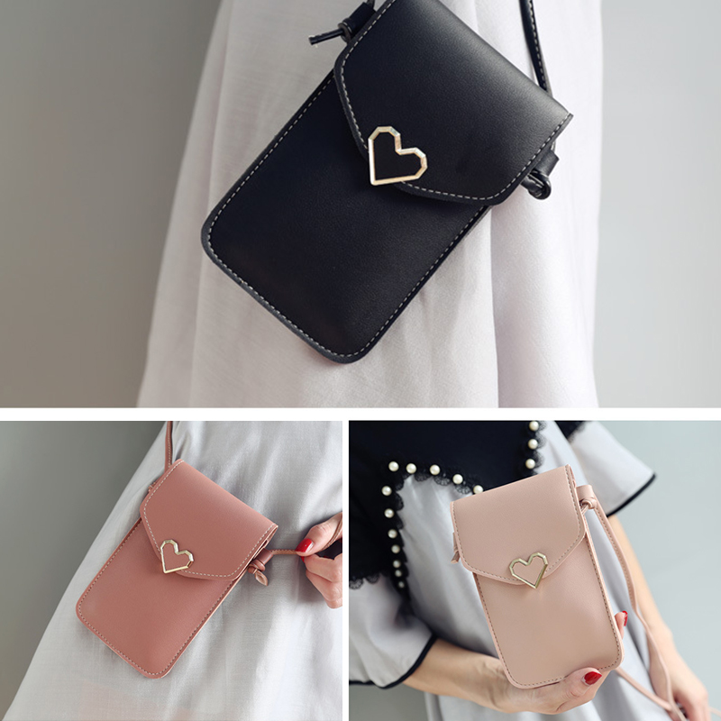 Women Simple PU Heart-Shaped Decorative Crossbody Bag Touch-Screen Mobile Phone Bag Phone Crossbody Shoulder Bag Purse Wallet