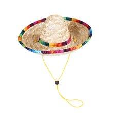 Multicolor Dog Cat Mexican Straw Sombrero Hat Pet Adjustable Buckle Costume Hawaii Style