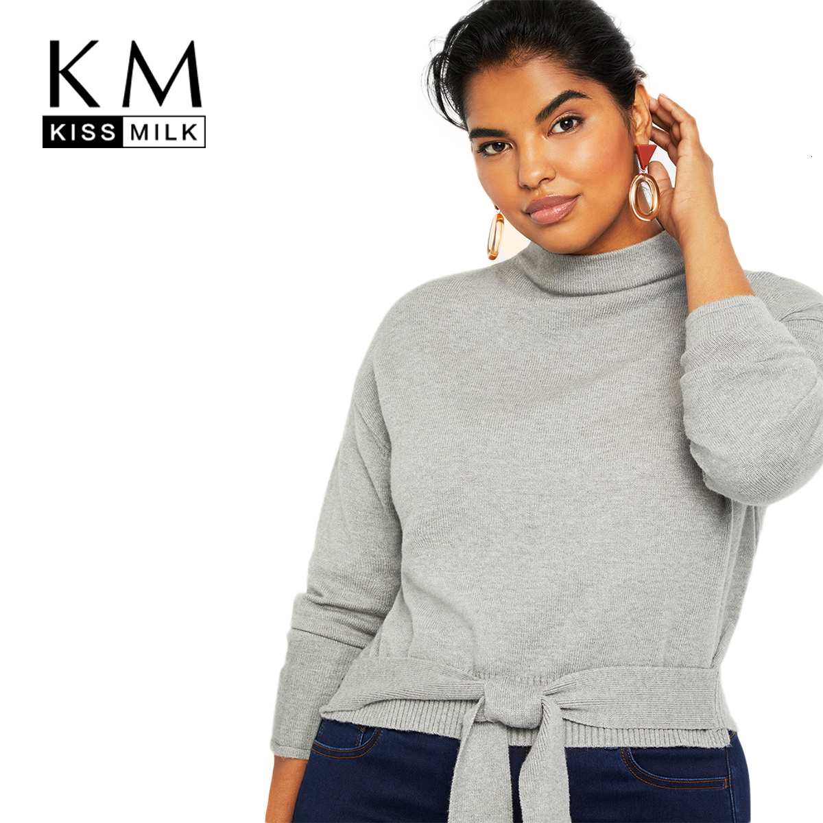 Kissmilk Plus Size Woman Clothes Solid Color Stand Collar Loose Tie Knit Long Sleeve Pullover