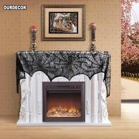 10 Pcs/lot Black Lace Spiderweb Fireplace Mantle Scarf Cover Halloween Decoration Festive Party Supplies 45*243cm