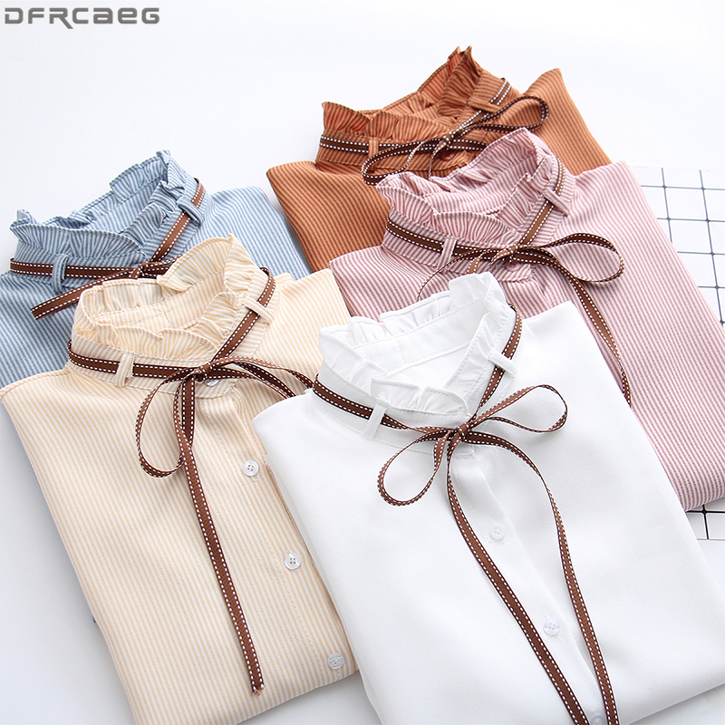 2019 Autumn Long Sleeve   Blouse   Women Fashion Office Woman Tops Elegant Stand Collar Striped   Shirt   Bow Lace Up   Shirts   White Pink