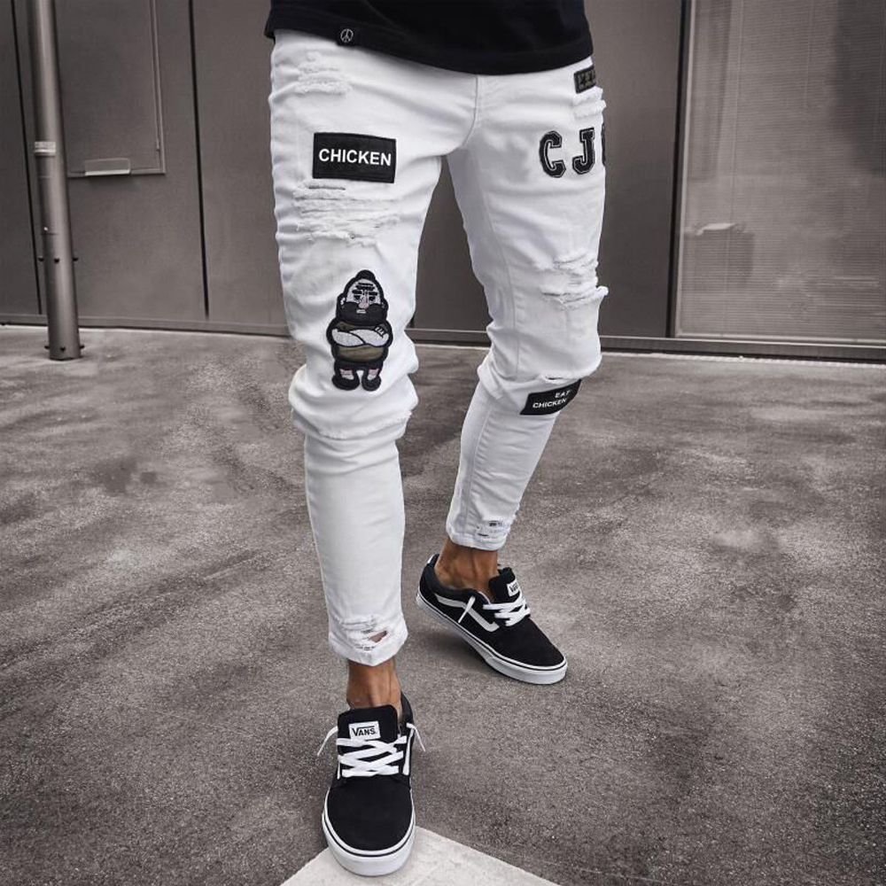 Hirigin Men Stretchy Ripped Skinny Biker Embroidery Print Jeans Destroyed Hole Taped Slim Fit Denim Scratched High Quality Jean