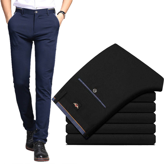 Men's Suit Pants Spring and Summer Male Dress Pants Business Office Elastic Wrinkle Resistant Big Size Classic Trousers Male 1