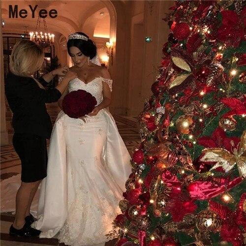 Luxury Mermaid Wedding Dresses With Detachable Train 2020 Off Shoulder Lace Applique Vestido De Novia Modest Stain Bridal Gowns