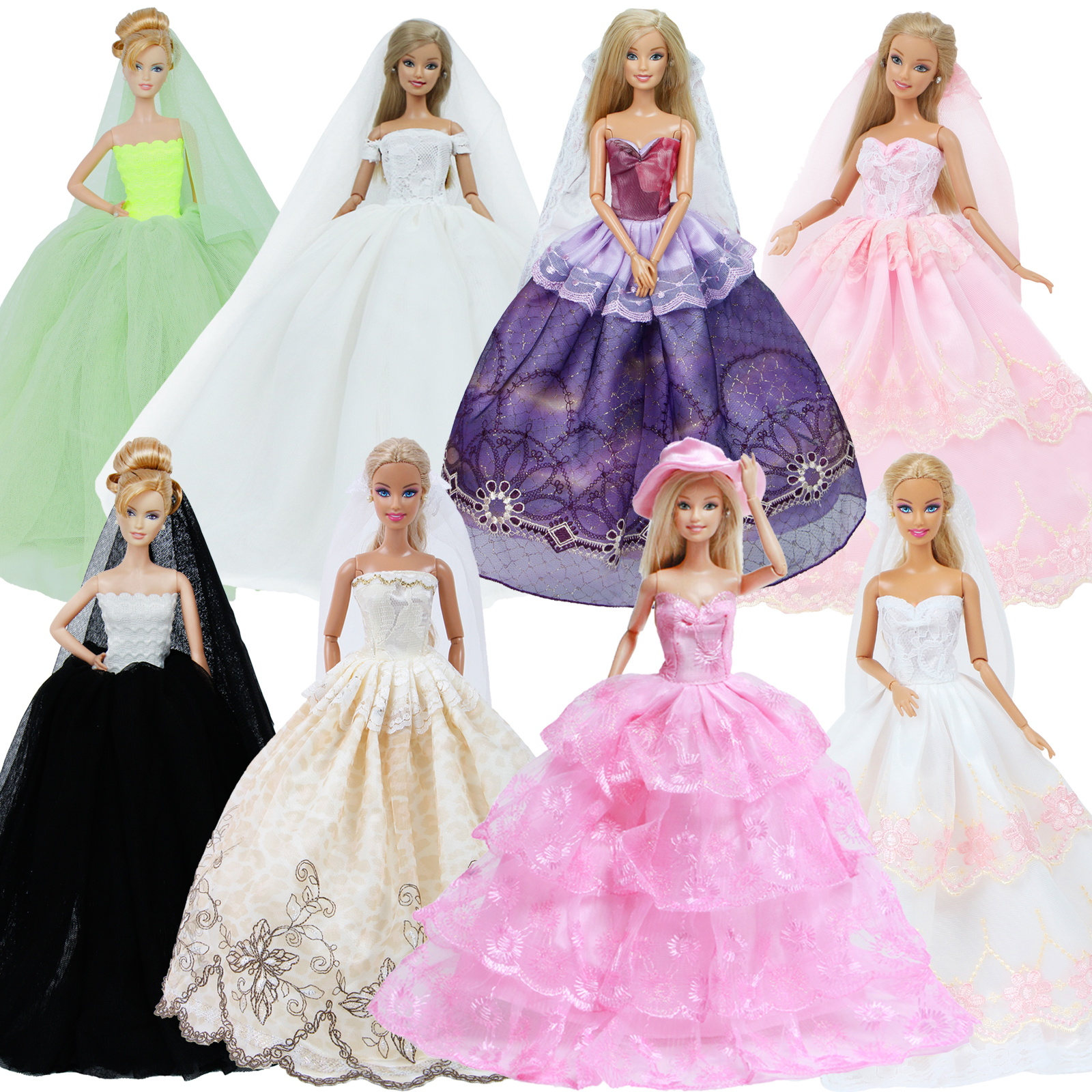 Handmade Fashion Wedding Dress For Barbie Doll Princess Dinner Party Wear Gown + Veil Clothes Outfit Doll Accessories Kids Toy