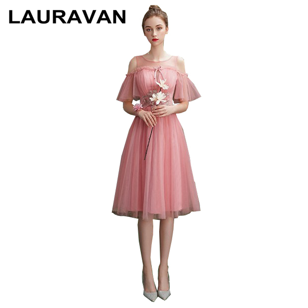 fashionable elegant robe soiree sexy off shoulder sexy boat neck blush pink tulle club tea length homecoming dress ball gown