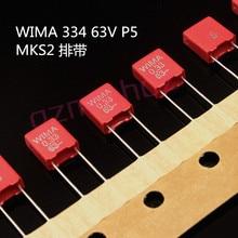 20 قطعة الأصلي الأحمر WIMA MKS2 330NF 63V P5MM 0.33 فائق التوهج 334/63V الصوت 334 جديد mks 2 0.33U 330N/63V pcm5