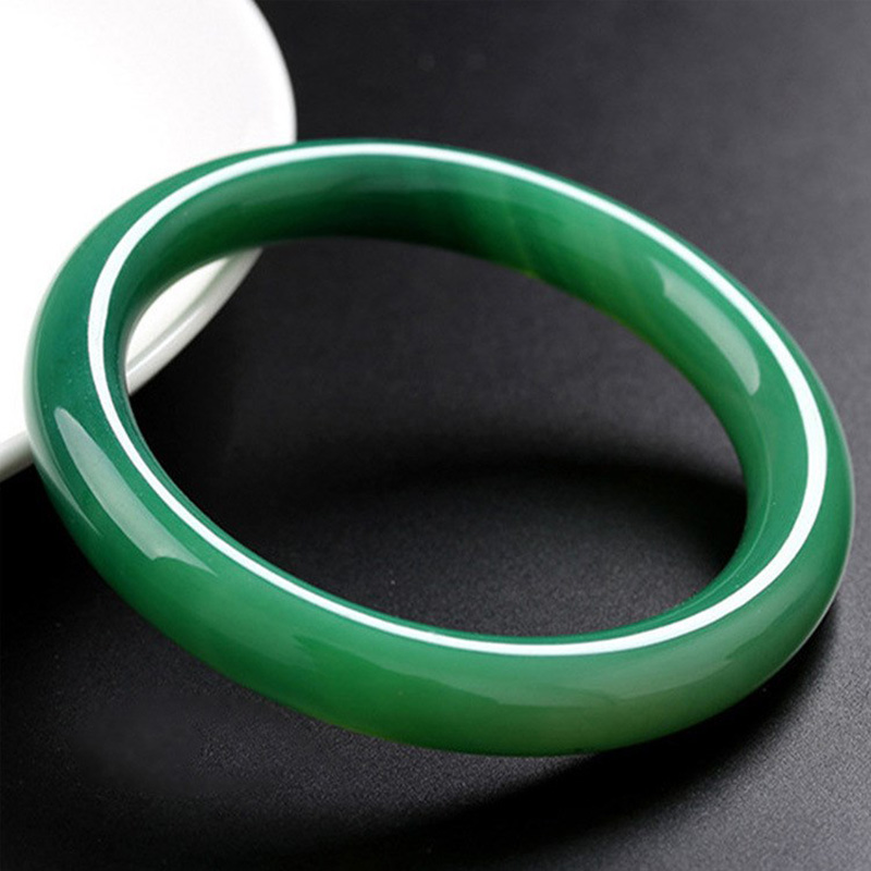 Jade Bangles Wholesale High Quality Natural Green Agate Bangles Grade Round bar Bracelet  Jewelry
