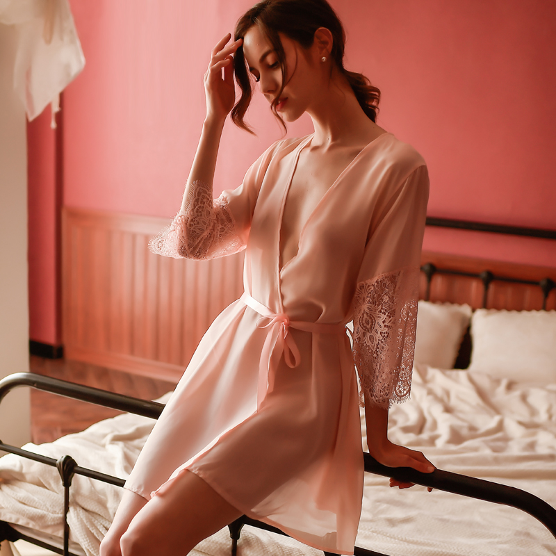 Sexy Mousse Pink Deep V Ultra-thin Lace Stitching Mid-sleeved Nightgown Chiffon See-through Loose Nightdress Set