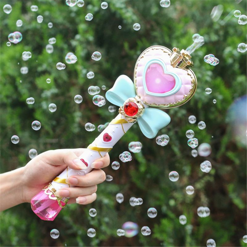 Musical Light-up Bubble Magic Wand Bubble Machine Bubble Blower With 2 Bottles Bubble Solution, 2 Settings, Gift For Kids Girl