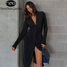 Newasia preto inverno vestido feminino turndown colarinho botão manga longa vestidos casuais ver através sexy midi vestido streetwear 2020