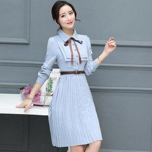 Image 5 - 2020 Thu Đông Vintage Chiffon ĐầM Midi Bodycon Hàn Quốc Áo Sơ Mi Công Sở Áo Nữ Dự Tiệc Tay Dài Đầm Vestido