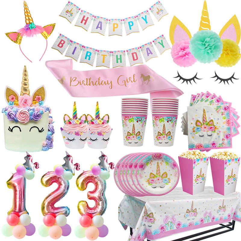 Festa de aniversário da menina unicórnio rosa placa de papel copo guardanapo descartável conjuntos de utensílios de mesa chá de bebê primeiro aniversário fontes da festa