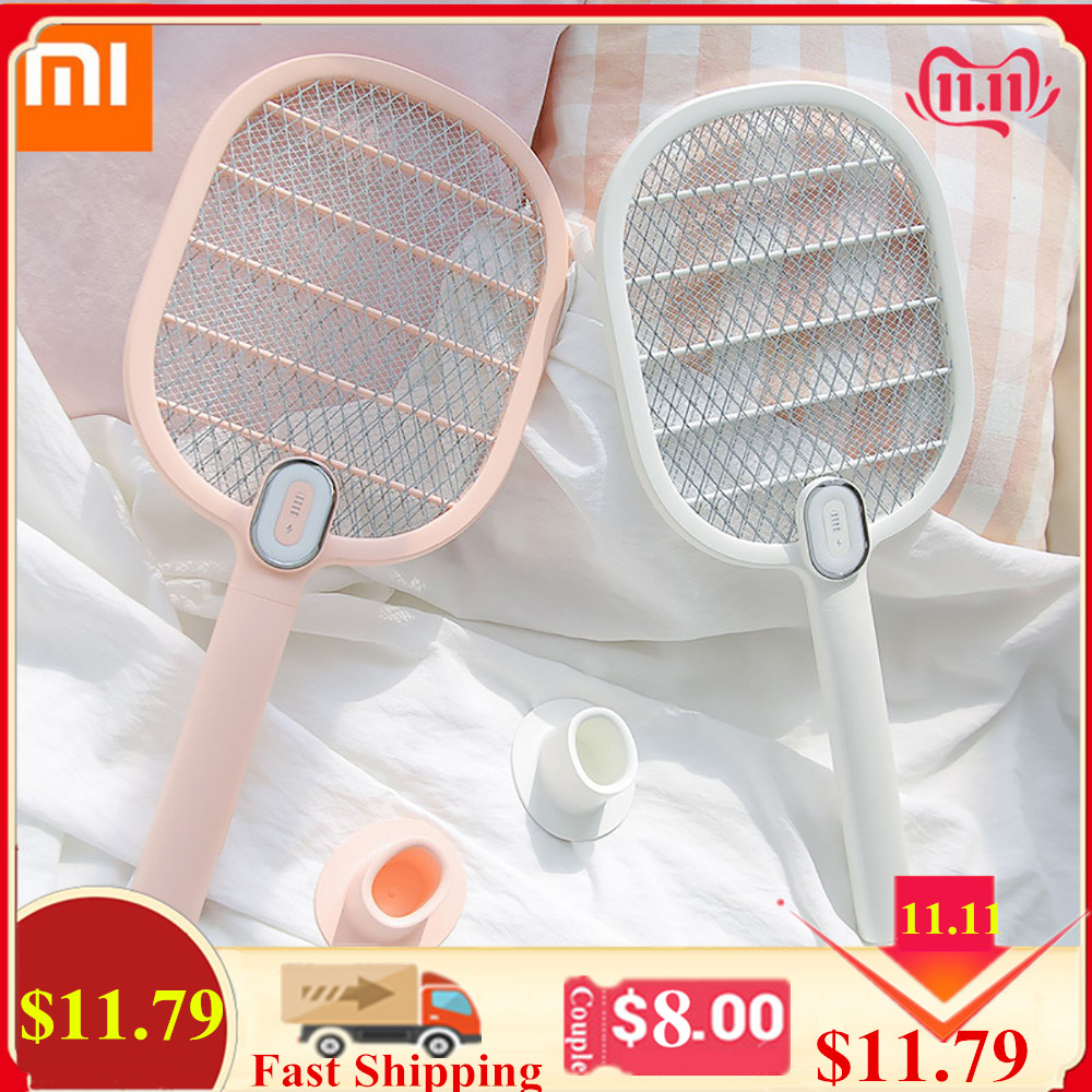 Xiaomi Mijia Electric Mosquito Swatter Rechargeable LED Electric Insect Bug Fly Mosquito Dispeller Killer Racket 3-Layer Net