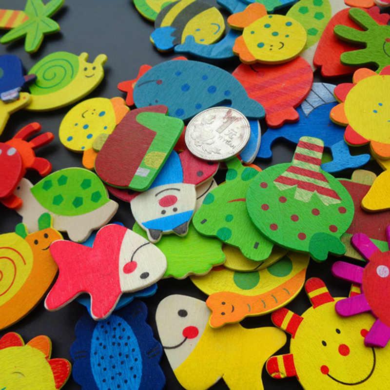 12pcs/lot Colorful Wooden Animal Cartoon Fridge Stickers Wooden Cartoon Fridge Magnets Decor Home Decoration Accessories