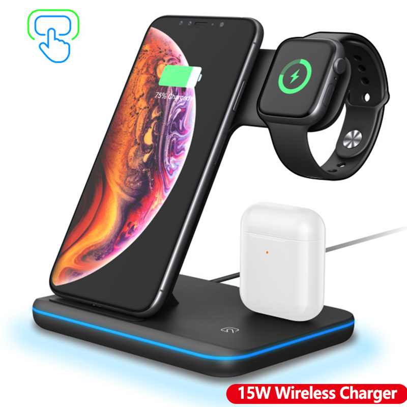 <font><b>Qi</b></font> Wireless Charger Stand Dock 15W Fast Charging for Apple <font><b>Watch</b></font> 5 4 3 iPhone 11 Xs XR QC 3.0 Quick Wireless Charge for Airpods image