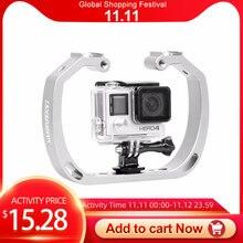 Plongée sous marine en aluminium Selfie monopode montage Double bras plateau tenu dans la main pour Gopor Action support de caméra