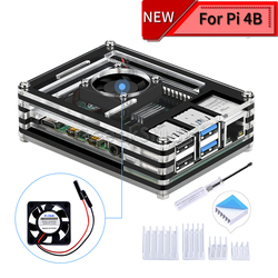Acrylic Transparent / Clear & Black Case Cover for Raspberry Pi 4 Model B, with Cooling Fan for Raspberry Pi 4B