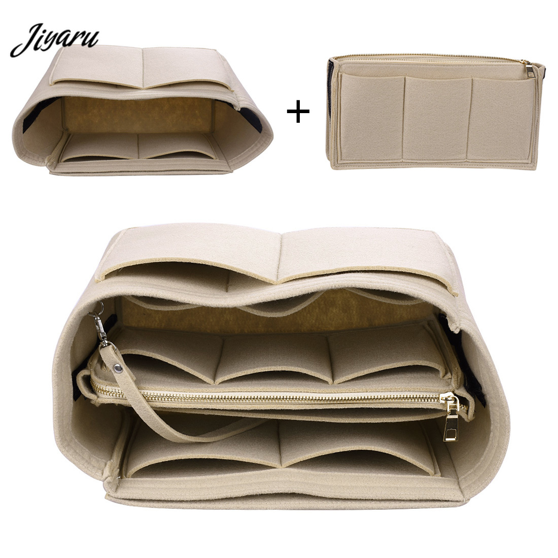 Brand Make Up Organizer Felt Insert Bag For Handbag Travel Inner Purse Portable Cosmetic Bag Organizer Suitable For Neverfull