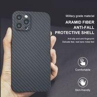 Iphone 12Mini 12pro 12Promax الأراميد من ألياف الكربون قضية الهاتف عدسة الأعمال فائقة النحافة شاملة للجميع غرامة ثقب الإصدار غطاء قذيفة